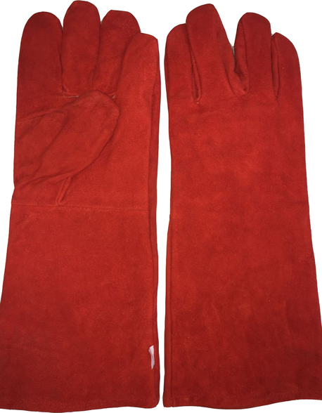 Red Welding Gloves long without piping (Heavy Duty)